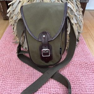 Luxury Chapman canvas and leather cross body bag
